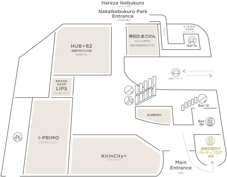 WACCA池袋 1階のフロアマップ